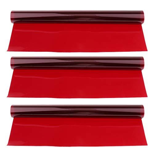 Almencla 3X 40x50cm Colori Filtro Colorato in Gel, Realizzato in Materiali ad Alta Trasmissione della Luce con Peso Leggero - Profondo Ross