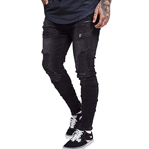 HUNGSON Men's Stretchy Ripped Skinny Jeans Taped Slim Fit Denim Jeans