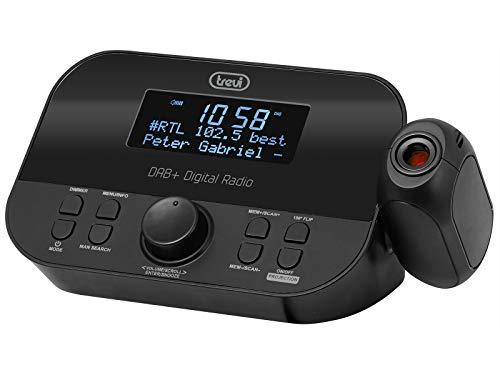 Trevi RC 85D8 DAB Elektronischer Radiowecker mit Zeitprojektion und digitalem DAB/DAB+-Empfänger, großes LED-Display, programmierbare Wecker, Snooze-Funktion, Sleep-Funktion