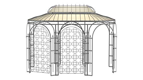 ELEO Verona wunderschöner Gartenpavillon Winterfest mit 2 x Rankgitter Rosa I Ovalpavillon Anthrazit 4 x 2,85 m I Stabiler Rosenpavillon aus Schmiedeeisen mit Sonnensegel I Pavillon für Garten