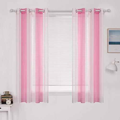 MIULEE Rideaux Voilage Rayure Transparent Décorative pour Chambre Salon Imprimes Fenêtre Design Moderne Uni à Oeillets Décoration pour Maison Cuisine Chambre Lot de 2 140x160cm(L X H) Rose+ Blanc