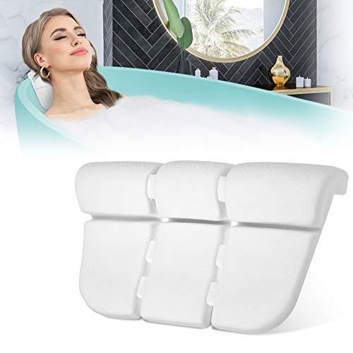 Essort Badewannenkissen,EVA Komfort badewanne kopfkissen mit 3 Saugnäpfen ist weich und Wasserdicht,Einstellbar badewanne nackenpolste für Home Spa Whirlpools Weiß