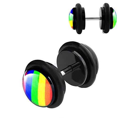 Fake Plugs Pride Rainbow - Juego de 2 dilatadores para la oreja
