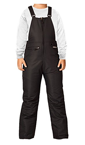 Arctix Youth Insulated Snow Bib Overalls, Black, Medium/Regular