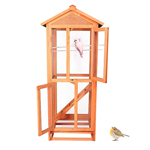 LONABR Wooden Aviary House Bird Cage Vertical Play House with Perch Trays