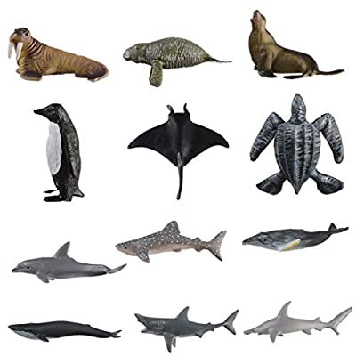 FBGood Mer Créature Jouets Variété Océan Animaux De La Mer Jouets Realistic Sea Life Animaux Jouets - Simulation 12 Série de Modèles d'animaux Marins, Cadeau pour Enfants Bébé (12PC)