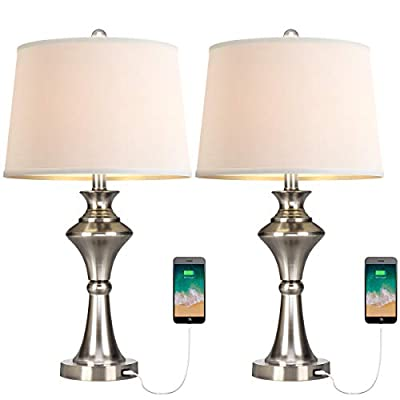 Oneach Modern USB Table Lamps Set of 2 for Living Room Bedroom Brushed Nickel Bedside Nightstand Lamps with Fabric Lampshade