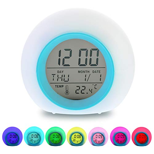 LED Kinderwecker Digitaler Wecker Lichtwecker Nachttischuhr Clock mit 7 Farben Ändern, LED Zeitanzeige, Datum, Temperatur und Schlummerfunktion