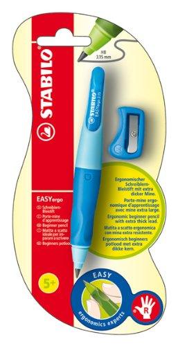Ergonomischer Druck-Bleistift für Rechtshänder - STABILO EASYergo 3.15 in hellblau/dunkelblau - Einzelstift - inklusive 1 dicken Mine - Härtegrad HB & Spitzer