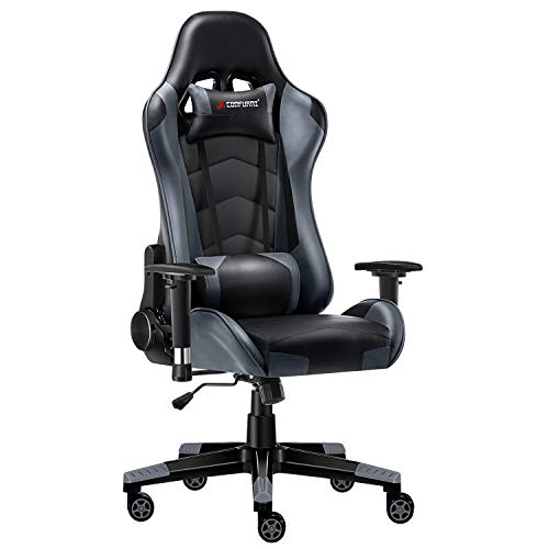 JL Comfurni Gaming Chair Computer Chairs Swivel Leather Desk Chair Heavy Duty Reclining Chair High Back with Lumbar Support -Black & Grey
