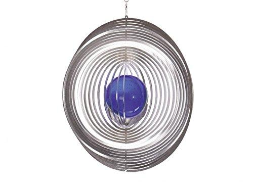 Illumino Edelstahl-Windspiel Kreis mit kobaltblauer 70mm Glaskugel