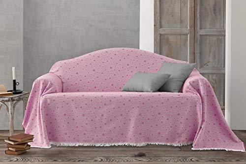 HIPERMANTA Colcha Foulard Multiusos Jacquard Modelo Estrellas para sofá y para Cama, Algodón-Poliéster, 2 plazas. Rosa.