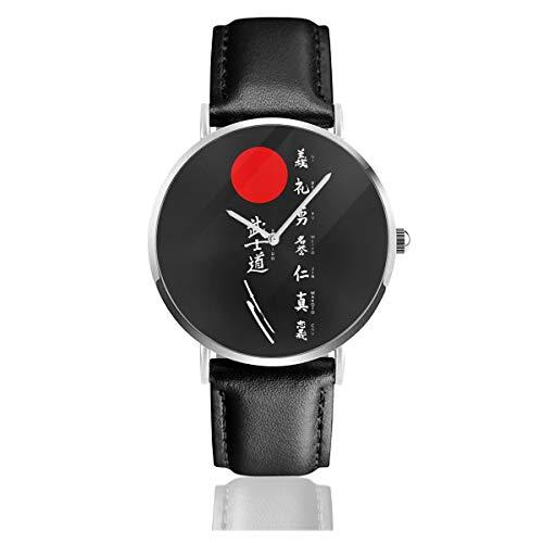 Japanische Kanji Samurai Bushido CoolQuartz Armbanduhr Edelstahl Classic Casual Lederband Uhren
