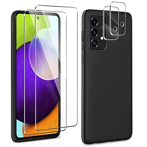 YIRSUR Funda Compatible con Samsung Galaxy A52, 2 piezas Cristal Templado Protector de Pantalla + 2 piezas Protector de Lente de cámara, protectora de TPU suave de primera calidad, Silicona Case negro