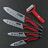 Cerámica cuchillo de cocina cuchillo de cocina conjunto zirconia 3' 4' 5' 6' pulgadas pelador comprende los frutos regalo del cuchillo de pelado de belleza Messenset (Color : Red black handle)