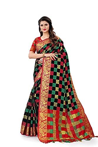 AMAR CREATION Women's Kanjivaram Cotton Silk Saree With Blouse Piece