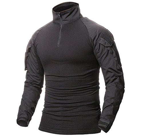 ShallGood Herren Camouflage Shirt Taktisch Militär Langarm T-Shirt Outdoor Hemd Slim Fit Kampfhemd B Schwarz Large