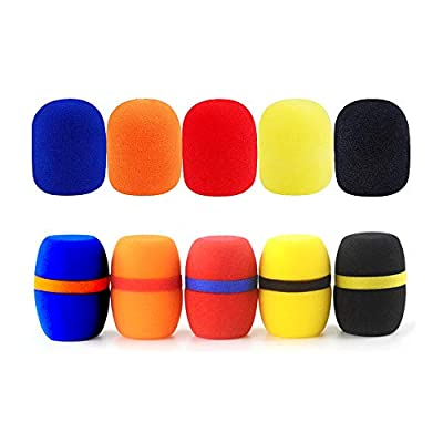 10 Pack 2 Style Universal Thick Handheld Stage Foam Microphone Cover Colorful Microphone Windscreen Sponge Cover (10PCS)