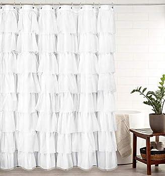 VERLENS White Ruffle Shower Curtain Farmhouse Shower Curtains for Bathroom 72x72 Inch Long