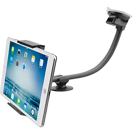 """Car Tablet Mount Holder [13"""" Gooseneck Extension], Long Arm Windshield Vehicle Mount Compatible 7-11 inch Tablet, Sticky Gel Suction Cup Cell Phone Holder SUV Truck Lift Uber Driver, 2 in 1"""