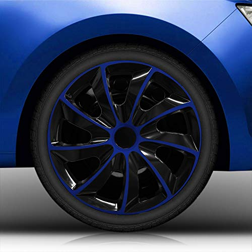 """Autoteppich Stylers 15 Zoll Radkappen/Radzierblenden 002 Bicolor 15"""" (Schwarz-Blau) passend für Fast alle Fahrzeugtypen – universal"""
