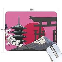 Jiemeil マウスパッド 高級感 おしゃれ 滑り止め PC かっこいい かわいい プレゼント ラップトップ などに 歌舞伎 鳥居 赤丸日 富士山 風景絵