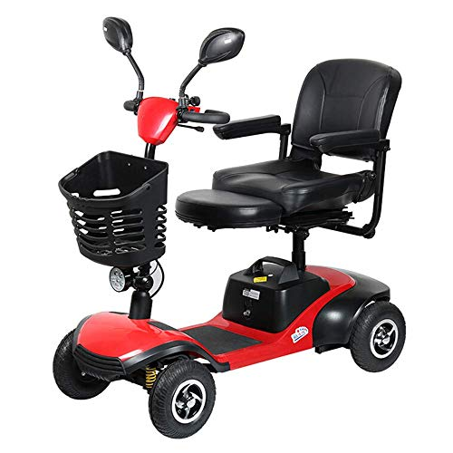 XHLLX Älteres Roller-Vierradelektrofahrzeug, Motorisierter Rollstuhl-Elektroroller Ältere Senioren, Reisender Rollators 4 Rad Mit 36Cm Sitz-Faltendem Rollstuhl Mit Körben Führte Lichter