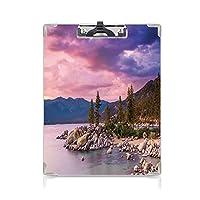 クリップボード 湖 ミニバインダー 空の超現実的な奇跡の雲のある湖のほとりの秘密の楽園の森アートプリント 用箋挟 クロス貼 A4 短辺とじピンクグレー