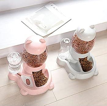 Double Gamelle Chat Surélevée, 2 in 1 Distributeur de Nourriture Eau Fontaine Automatique pour Animaux,Gamelle Double pour Chien, pour Chiens et Chats de Petite Taille ou Moyenne Taille,Rose