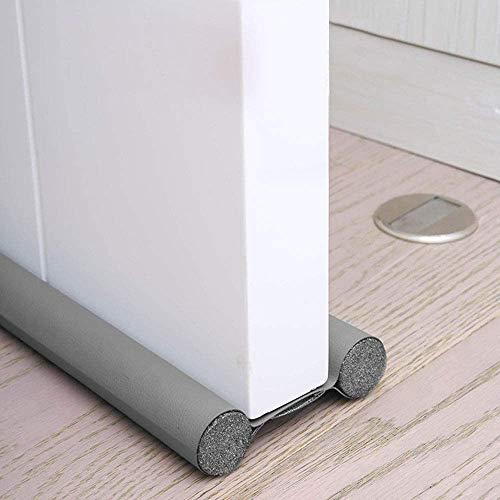 Tira de Sellado Inferior de Puerta de 96CM Espuma+Cuero flexible Protección de Doble Cara para Puerta Aislamiento Acústico/frío/a Prueba de Viento/Anti-Bug (1 PCS, Gris)