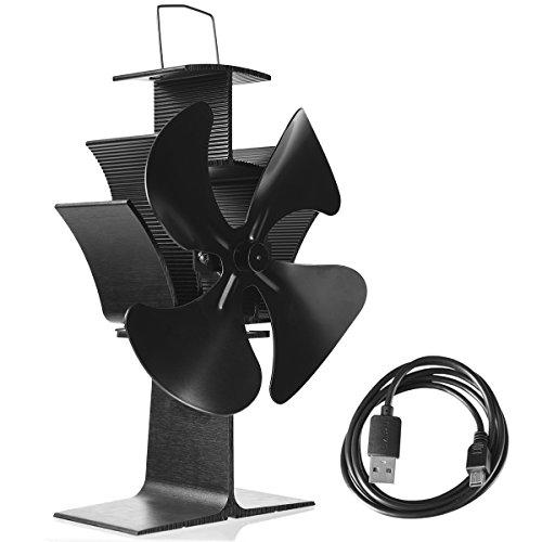 COSTWAY Ofenventilator ohne Strom Kaminlüfter Ventilator für Kamin Holzöfen Öfen 4 Blätter schwarz mit USB