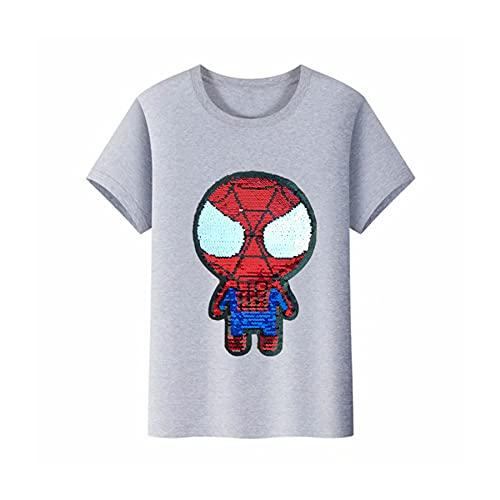 Camiseta Infantil Spiderman Camiseta Manga Corta Disfraz Superhéroe Reversible Lentejuelas Kid Media Manga Prenda Avenger Boy Beach Sudadera Manga Corta,Grey-XXL Kids(140~150CM)