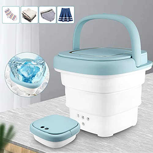 PaNt portátil lavadora plegable 80w mini lavadora de ropa ultrasónico máquina limpieza con función secado automático y botones táctiles a prueba de agua para camping viajes negocios desde
