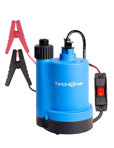 TecHome Submersible Pump, 12V DC 1500 GPH Submersible Utility Water Pump, with 20-Foot Cord, for Swimming Pool, Pond, Garden, Basement