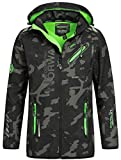 Geographical Norway Herren Softshell Outdoor Jacke Rainman/Royaute Camo Turbo-Dry Kapuze Black/Green L