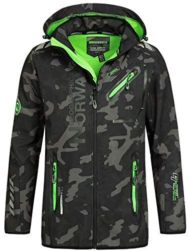 Geographical Norway Herren Softshell Outdoor Jacke Rainman/Royaute Camo Turbo-Dry Kapuze Black/Green M