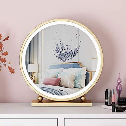Make-up spiegel, Scandinavisch gouden ronde desktop met LED licht slaapkamer desktop dressoir spiegel ijzer enkele kant
