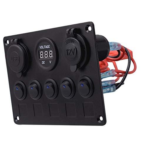 Toygogo Voltímetro del Cargador del Enchufe USB Dual del Panel del Interruptor Basculante de Palanca de 5 Bandas LED Rojo para Barco Marino