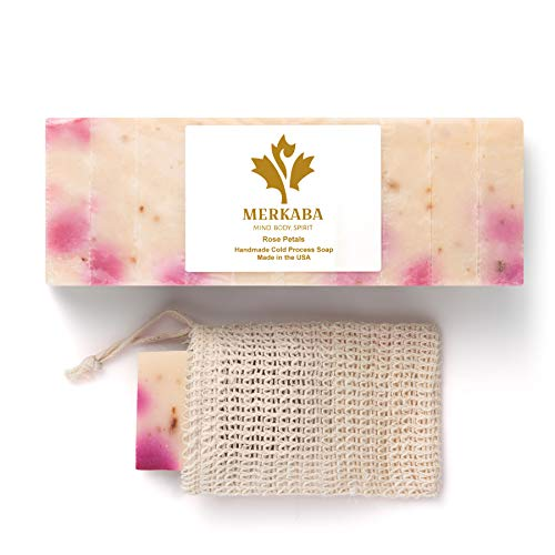 Merkaba Rose Petals Cold Process Soap - Women's Bar Soap, Natural Soap Bars for Women, Organic Body Soap, Handmade Soap with Shea Butter, Essential Oils – Luxury Gift Soap, 10 Bars with Soap Saver