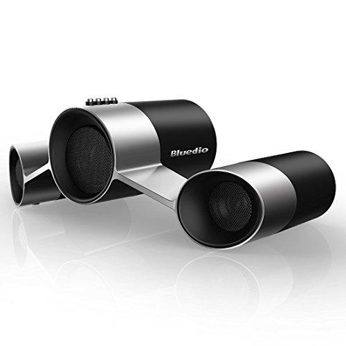 Bluedio US (UFO) Altavoces Bluetooth Inalámbricos Satélite con micrófono Potencia de Salida de 10W de 3 Drivers (Negro y Plateado)