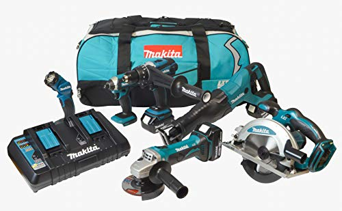 Amazon Exclusive: Makita DLX6104TX2 18V Li-ion LXT 6 Piece Combo Kit Complete with 3 x 5.0 Ah Batteries and Twin Port Charger Supplied in a LXT Tool Bag.
