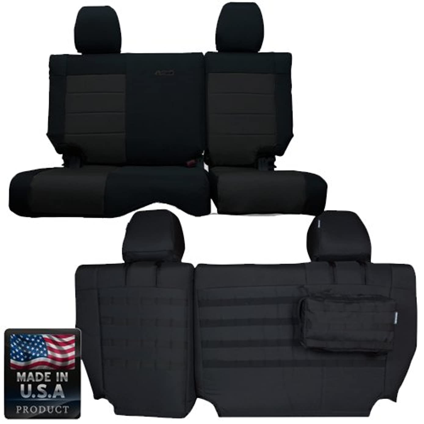 Bartact BTJKSC1112R4BB - 2011-2012 Jeep Wrangler JK 4-Door - Black/Black Mil-Spec with MOLLE System Rear Bench Seat Covers