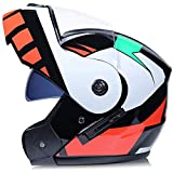 WZM Flip Up Motorbike Modular Helmet Transparent Mirror Motorcycle Helmet with Double Visor Racing Motorcycle Helmet for Bicycles, Racing Cars, Scooters (Color : Red, Size : S)