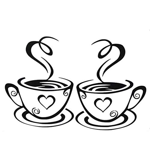 Café Tazas pared Pegatinas Decal Cocina Restaurante Pegatinas de Pared Estilo de Cafe con leche Etiqueta de Pared para decoracion Hall Dormitorio DIY vinilo desmontables adhesivos