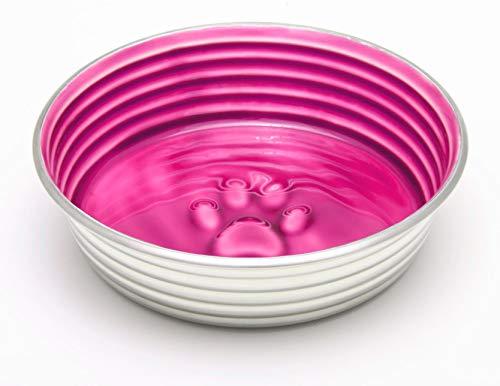 Le Bol Futternapf aus Edelstahl, mit Rutschfester Unterseite aus Gummi, für Hunde und Katzen, Größe L, Rosa