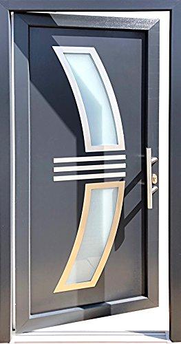 Nr.2 Wohnungstür, Hauseingangstür, Tür in anthrazit, Neue Tür, Türe,Haustür 100 x 210 cm, Tür mit Glaseinsatz, Kunststoff Tür 1,0 x 2,1 m