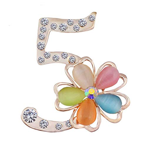 Pearl Flower Brooches Letter 5 Full Crystal Rhinestone Cc Brooch Pins For Women Party Number Brooches