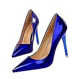 BJHSXXZ Tacón Alto de Moda Femenina Charol Liso Señoras Zapatos de Novia la Boda Resbalón en la Bomba de Estilete Zapato de Fiesta Azul