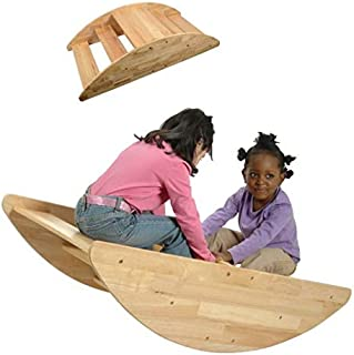 Constructive Playthings Wooden Rocking Boat for Children, Turn Over for Use as Steps, Seats up to 4 Children, for Ages 2 and Up