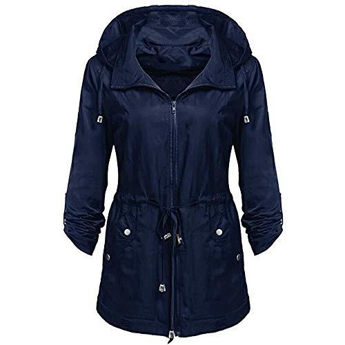 Abrigo De Mujer Chaqueta Lluvia De De Sólida Modernas Casual Invierno para Mujer Impermeable Impermeable con Capucha Chaquetas A Prueba De Viento Abrigo Abrigo (Color : Blau-C, One Size : L)
